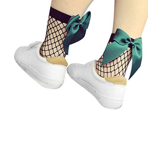 SKY Mujeres Lace Ruffle Fishnet tobillo alta calcetines de malla de pescado Net Socks Fishnet Ankle Socks Mesh Fish Net Socks Verde