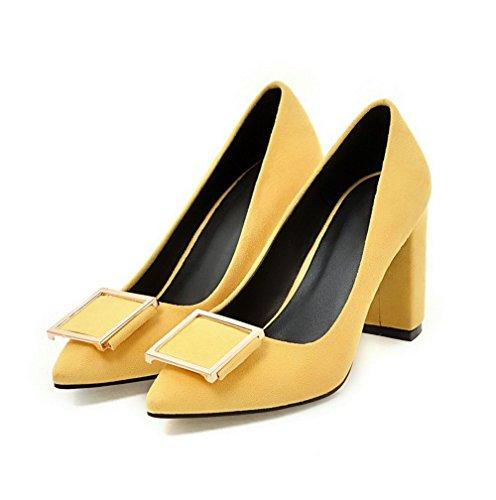 Naisten Weipoot Todennut on Pull Pu Soild Pumput Korkokenkiä toe Keltainen kengät RaqaZAxw