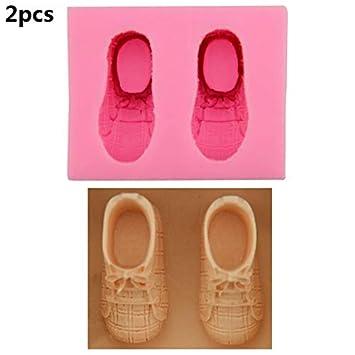 Libing Moldes 2 Piezas de Silicona Bricolaje Zapatos pequeños Pastel Molde de Chocolate Fudge Sugarcraft, 7.2 * 5.9 * 3.4 cm: Amazon.es: Hogar