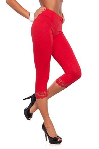 Futuro encaje Fashion® de Leggings 3 todos trenzado Rojo de los 4 colores y algodón tamaños con xxrqHw