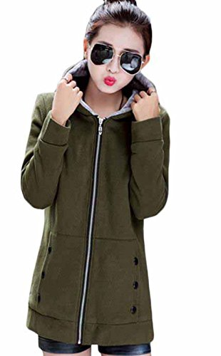MengFan レディース フードパーカー 冬 厚手 カーディガン 無地 フード付き 裏起毛 あったか ロングコート スリム 着痩せ 韓国風 アウター ファッション 通勤 通学 防寒