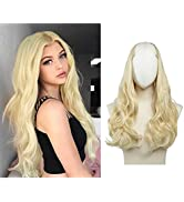 SARLA U Part Hair Extensions Long Wavy Curly Full Head Clip in Hair Piece Synthetic Beach Blonde ...