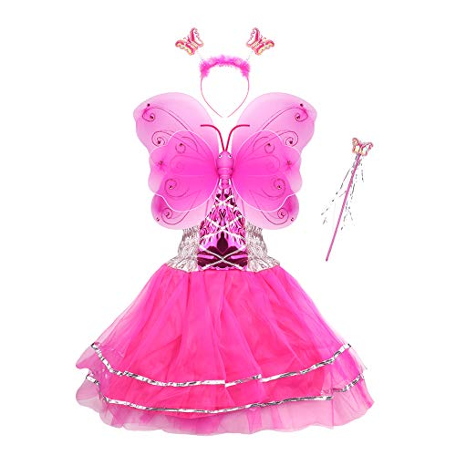 Little Girls Fairy Dresses (Girls Dress Up Princess Fairy Costume Set with Dress, Wings, Wand and Headband for Children Ages)