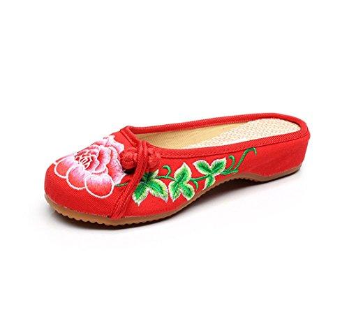 Zapatos de Tela de Viento Chino Bordado Zapatillas de Verano Gules