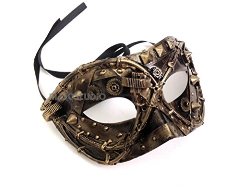 Steampunk Metallic Mens Masquerade Ball Mask Burlesque Dance Birthday Prom Halloween Party (Gold) -