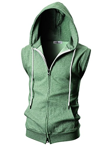 OHOO Mens Slim Fit Sleeveless Lightweight Zip-up Hooded Vest with Double Slide Zipper/DCF011-JADEGREEN-XXL]()