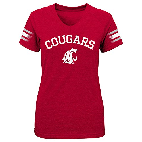 """NCAA by Outerstuff NCAA Washington State Cougars Youth Girls """"First Line"""" Short Sleeve V-Neck Tee, Dark Red, Youth X-Large(16)"""