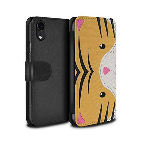 (eSwish PU Leather Wallet Flip Case/Cover for Apple iPhone XR/Tiger Design/Animal Stitch Effect Collection)