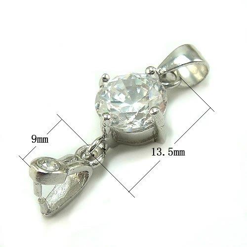 S925 Rhinestone Sterling Silver Crystal Pendant Bail Clasp Pinch Slide Diy Jewelry Making making 9x13.5mm