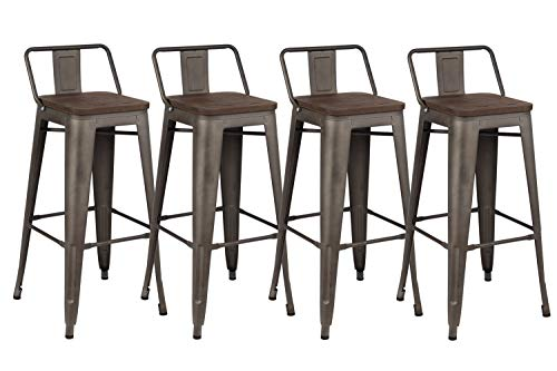 - Kmax Industrial Metal Bar Stools Set - Counter Height Bar Stools Chairs with Backs Indoor Outdoor, 30