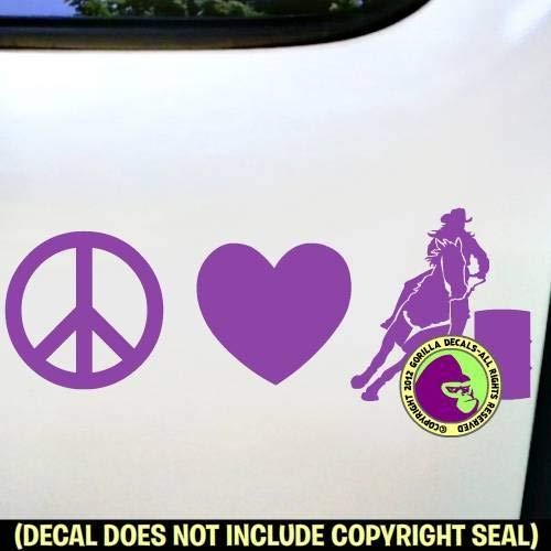 PEACE LOVE BARREL RACING Horse Rider Racer Vinyl Decal Sticker ()