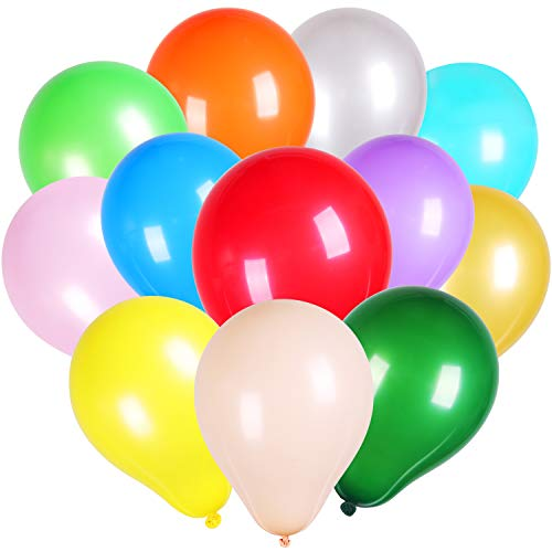 Jovitec Solid Colored Latex Balloons, Mix-Color Latex Balloons Decorations for Birthdays, Weddings, Receptions, Baby Showers, Graduation Party or Any Celebration (Multicolor, 200 Pieces 5 Inch) -