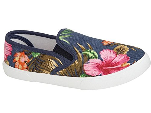 e1fc5a06f4 Ladies Palm Beach Floral Tropical Print Canvas Slip On Plimsoll Pumps  Casual Trainers Shoes Size 3-8 (UK 6, Navy)