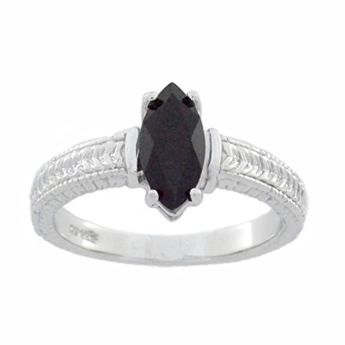 Natural Black Onyx Marquise Ring .925 Sterling Silver Rhodium - Ring Onyx Blk