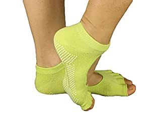 Slip Yoga Toe Socks - Toe Socks Ladies Thick Socks Yoga--Toe Halter--Green