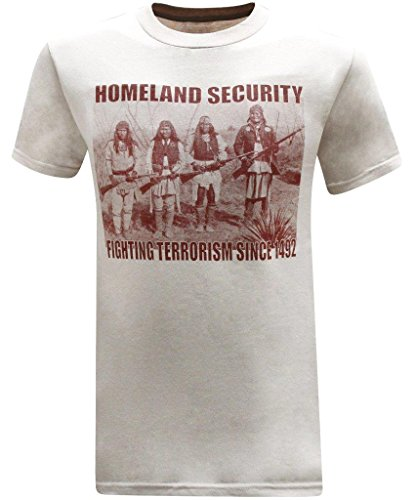 Homeland Security Fighting Terrorism Native American Indian Men's T-Shirt - (X-Large) - Beige