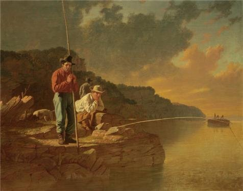 High Quality Polyster Canvas ,the Amazing Art Decorative Prints On Canvas Of Oil Painting 'George Caleb Bingham,Fishing On The Mississippi,1851', 18x23 Inch / 46x58 Cm Is Best For Foyer Artwork And Home Artwork And Gifts Cat Fishing Sculpture