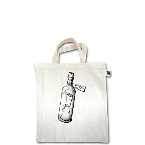Statement Shirts - Geschenk Flaschenpost - Unisize - Natural - XT500 - Fairtrade Henkeltasche / Jutebeutel mit kurzen Henkeln aus Bio-Baumwolle