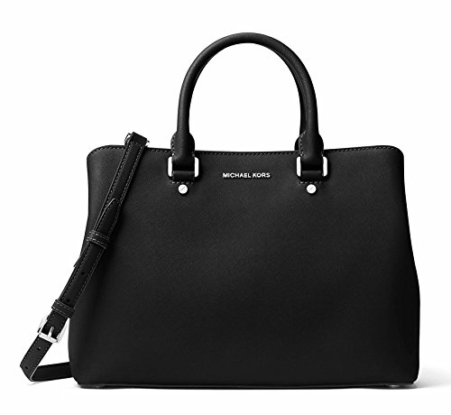 MICHAEL Michael Kors Savannah Large Satchel (Black/Silver)