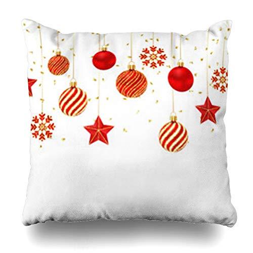 - Krezy Decor Throw Pillow Cover Christmas Red Gold Ornamental Balls Stars Luxury Holidays Snowflake Hanging Shine Merry White Sofa Pillowcase Square Size 16 x 16 Inches Home Decor Pillow Case