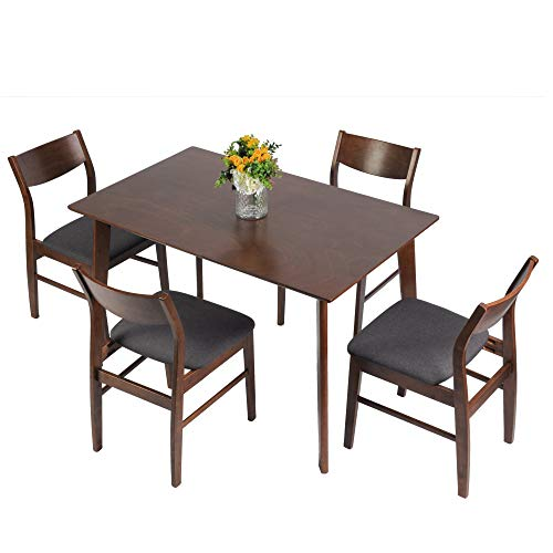 LUCKYERMORE 5 Piece Dining Room Table Set Mid Century Modern Dinette Set Wood Kitchen Table and 4 Side Chairs with Walnut Finish