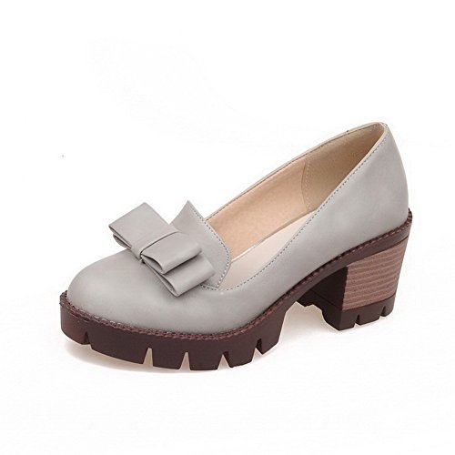 VogueZone009 Damen Ziehen auf PU Leder Rund Zehe Mittler Absatz Rein Pumps Schuhe Grau