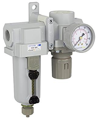 "PneumaticPlus SAU420-N04G-MEP Compressed Air Filter Regulator Combo 1/2"" NPT - Metal Bowl, Manual Drain, Bracket, Gauge"
