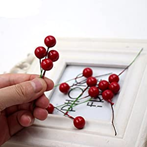 200 Pcs Artificial Small Berries Red Cherry 100 Pcs Fake Green Leaves with 1 Roll Floral Tape for Christmas Tree DIY Gift Decorative 9