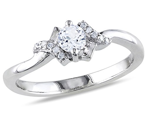 Created White Sapphire 1/3 Carat (ctw) Promise Ring with Diamonds in Sterling Silver ()