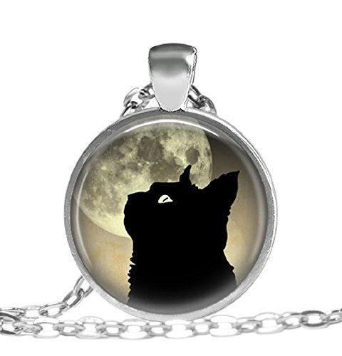 Black Cat and Moon, Art Pendant, Moon Jewelry, Pendant Necklace 41uCsENw3mL