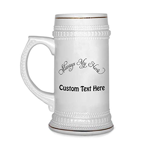 Breast Cancer Drinking Glass - Custom Beer Mug Always My Hero Breast Cancer Ribbon Ceramic Drinking Glasses Beer Gifts White 18 OZ Personalized Text Here