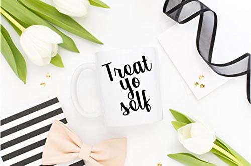 SkyLine902 - Treat Yo Self Mug - Mother's Day Brunch, Mom Gift For Her, Wedding Gift, Engagement Party, Treat Yoself Girlfriend Gift Mug, Punk Typography, 11oz Ceramic Coffee Novelty Mug/Cup