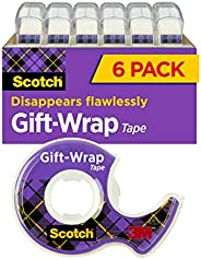 Scotch Gift Wrap Tape, 6 Rolls, The Go-To Tape for the Holidays, 3/4 x 650 Inches, Dispensered (615-GW)