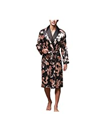 Asskyus Men's Lightweight Satin Sleep Robe Kimono Gown, Bathrobe for Men Long Style