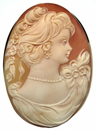 Lady Rose Cameo, Brooch Pendant Solid 14k Yellow Gold Frame, Italian Master Carved