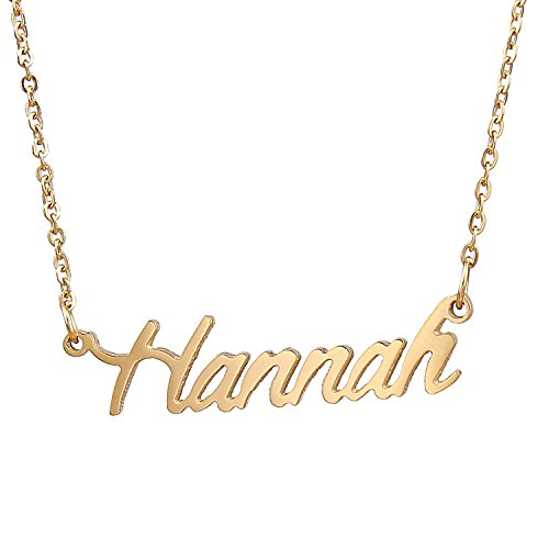 AOLO Gold Plated Cursive Gold Necklace Name Plates, Hannah (Hannah Jewelry Montana)