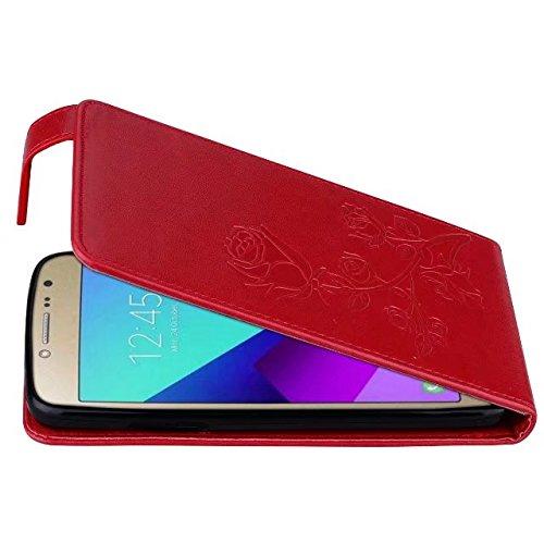 YHUISEN Galaxy J2 Prime Caso, en relieve Rose flor patrón vertical Flip caja de cuero con ranura para tarjeta de Samsung Galaxy J2 Prime ( Color : Gold ) Red