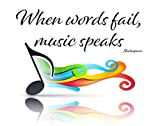 When Words Fail, Music Speaks - Shakespeare Fine Art Print - 11x14 Unframed Photo Art - Great Gift for Music Lovers. Perfect for the Home, Game Room, School, Dorm or Bedroom