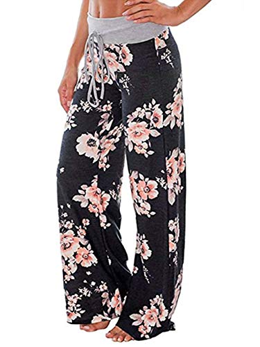 iChunhua Women's Comfy Stretch Floral Print Drawstring Palazzo Wide Leg Lounge Pants 3XL Black