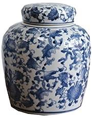 Creative Co-Op DA5352 Blue & White Ceramic Ginger Jar with Lid