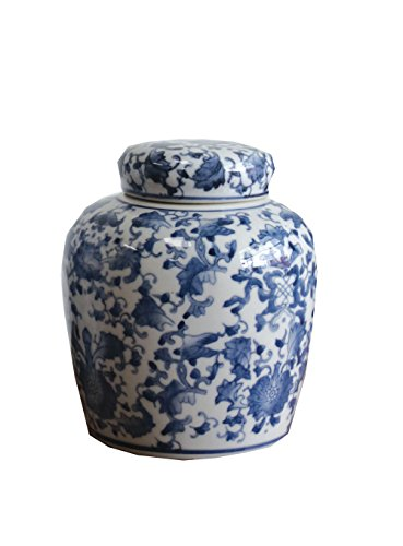 6.5 Inch RNUM-Inch Ceramic Ginger Jar with Lid, Blue/White - Blue Ginger Jar