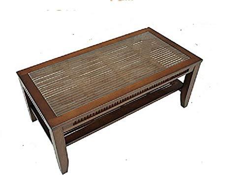 強化ガラスセンターテーブル/バンブーローテーブル 【90cm×45cm】 木製(天然木)/竹 B07GMTT1YX