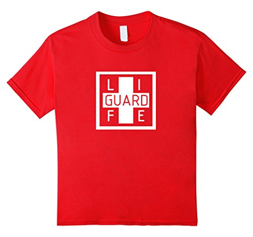 Kids Official Life Guard Halloween Costume T-Shirt 10 Red