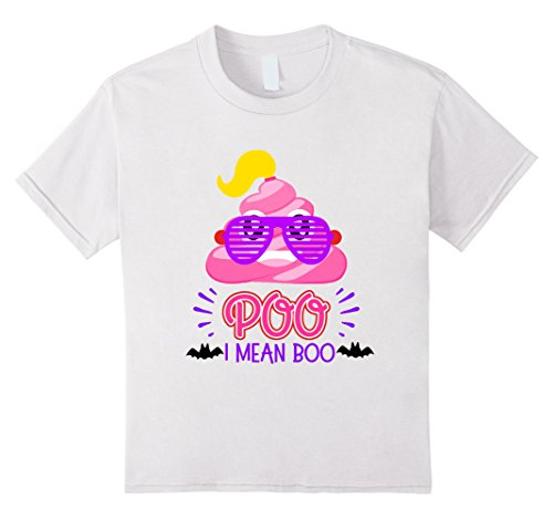 [Kids Cute Poo Boo Shirt Halloween Pink Poop Toddler Tween Girl 4 White] (Mean Girls Movie Halloween Costumes)