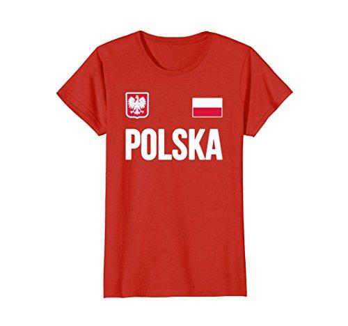 Womens Poland T-shirt Polish Soccer Jersey Style 2018 Polska Medium (Poland Soccer T-shirt)