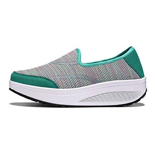wyhweilong Women Sneakers Outdoor Walking Running Slip on Wedges Breathable Mesh Shoes for Women Green l0wximZr
