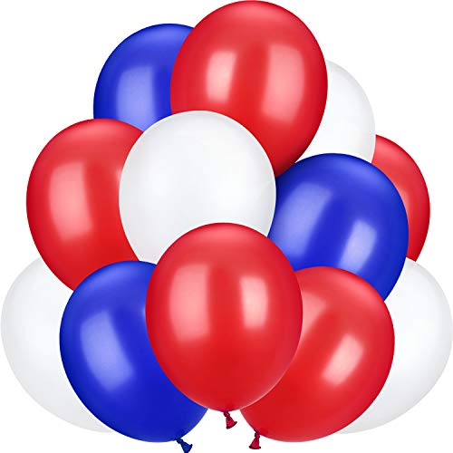 100 Pieces 13 inch Latex Balloons for Wedding Festival Party Decoration (Blue, Red, -