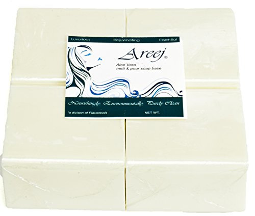 Areej Hypo-Allergenic Biodegradable Aloe Vera Soap Base made with 100% Pure Natural Glycerin - 5 Pounds