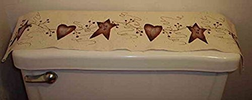 Rusty Heart (Primitive Country Decor Hand Painted Rusty Tin Stars Hearts Pip Berry Vine Rustic Linen Toilet Tank Runner Made in USA)