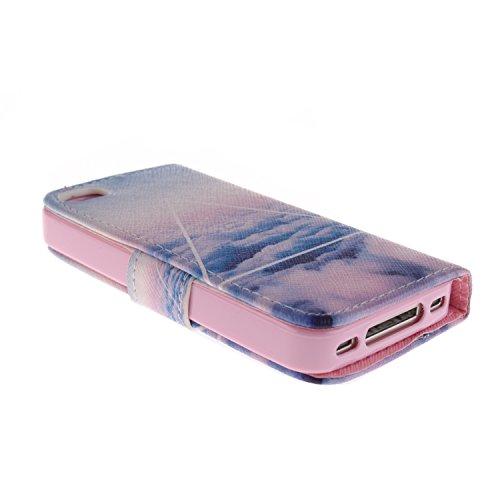 MOONCASE iPhone 4 Case Magnetverschluss [Painted Patterns] Leder Tasche Flip Case Cover Schutzhülle Etui Hülle Schale für iPhone 4 4S -LK04